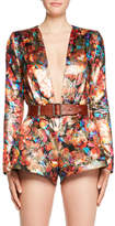 Saint Laurent Deep-V Long-Sleeve Floral-Brocade Romper