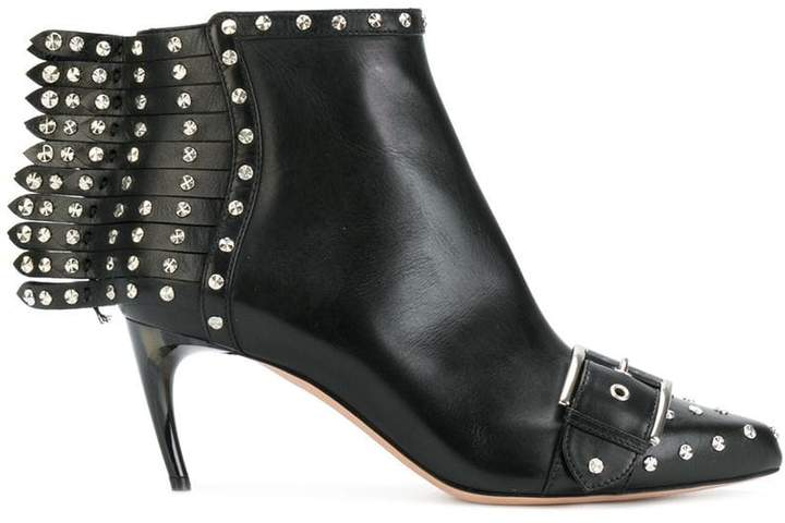 Alexander McQueen studded fringe heeled ankle boots