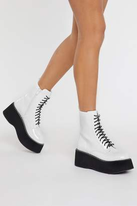Nasty Gal Womens Patent Platform Lace Up Boots - white - 3