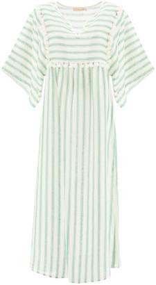 Tory Burch Striped Midi Caftan Dress