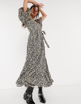 Sister Jane maxi dress with puff sleeves in leopard