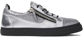 Giuseppe Zanotti London Zip-detailed Glittered Snake-effect And Metallic Leather Sneakers