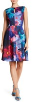 Ellen Tracy Floral Bow Scuba Dress