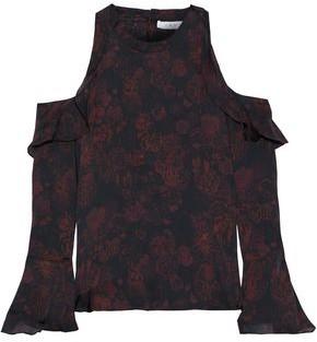 IRO Ciclan Cold-shoulder Ruffled Printed Silk Blouse