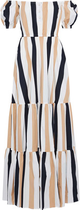 Caroline Constas Bardot Off-the-shoulder Striped Stretch-cotton Poplin Maxi Dress