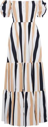Caroline Constas Bardot Off-the-shoulder Striped Stretch-cotton Poplin Maxi Dress