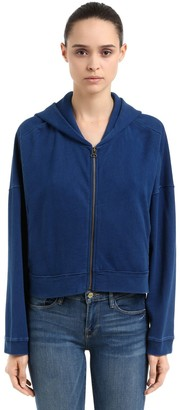 Champion Oversize Hooded Cotton Crop Sweatshirt