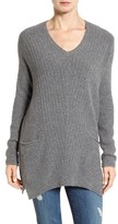 Caslon Long Shark Bite Hem Sweater (Regular & Petite)