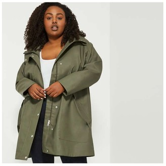 Joe Fresh Women+ Raincoat, Army Green (Size 1X)