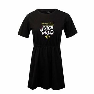 URMOSTIN Women's Mini Dress Juice Wrld Print Swing T-Shirt Dress Ladies Summer Short Sleeve Casual Dress Loose Round Neck Solid Color Girl's Day Dress Black
