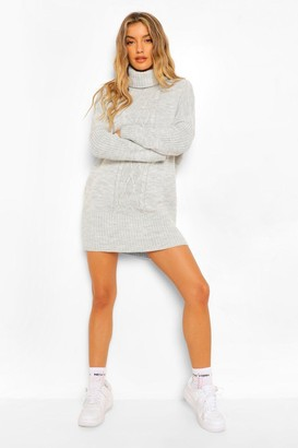 boohoo Cable Roll Neck Jumper Dress