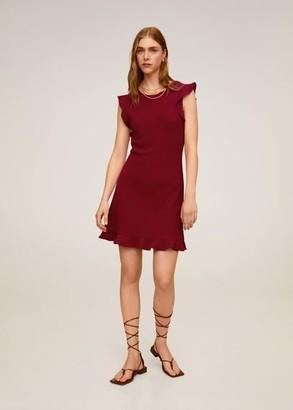 MANGO Short ruffled dress maroon - 4 - Women