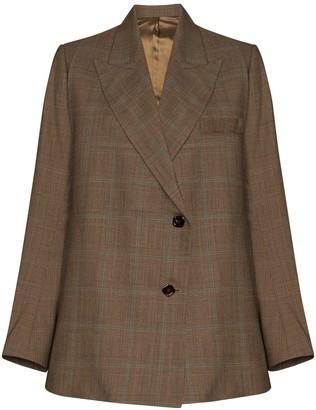 Eftychia Check-Pattern Wool Blazer