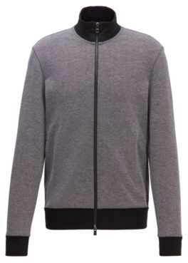 HUGO BOSS Regular Fit Sweatshirt With Striped Collar In Cotton Blend - Black