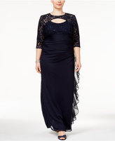 Betsy & Adam Plus Size Lace Rufled Gown