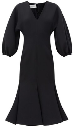 Valentino Balloon-sleeve Fluted-hem Wool-blend Crepe Dress - Black