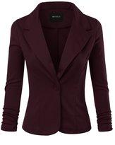 Doublju Womens Classic Solid Stretchy Knit Blazer Jacket WHITE