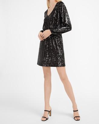 Express Sequin Elastic Waist Long Sleeve Dress
