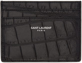 Saint Laurent Black Classic Croc-Embossed Card Holder