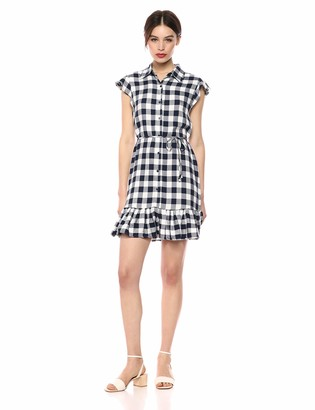 BB Dakota Womens Check Please Yarn Dyed Rayon Shirt Dress