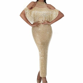 Malleable Sexy Halter Dress Patchwork Shining Mesh Hollow Out Tassel Split Evening Dress Elegant Bodycon Party Dress Gold