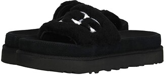 UGG Laton Fur Slide (Black) Women's Shoes