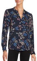 Ivanka Trump Floral Crepe Long Sleeve Blouse