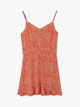 Oasis Textured Spotted Mini Sundress, Orange