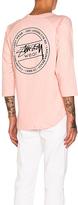 Stussy Laguna Dot Raglan Jersey in Pink. - size L (also in M,XL)