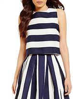 Lucy Paris Crew Neck Sleeveless Stripe Crop Top