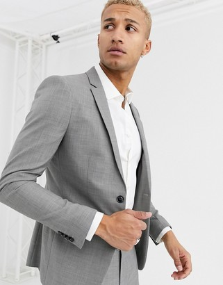 Topman skinny suit jacket in gray