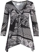 Glam Black & White Paisley Sidetail Tunic