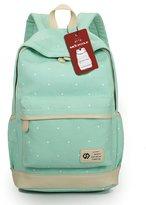 Moolecole Geometry Dots Canvas Backpack Shoulder Bag Laptop Backpack Mint Green