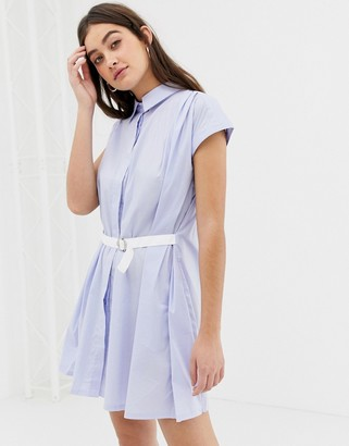 Glamorous short sleeve shirt dress-Blue
