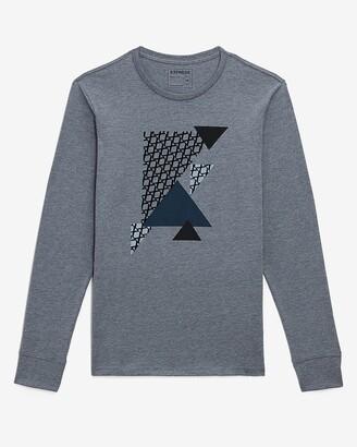 Express Gray Geometric Long Sleeve Graphic T-Shirt