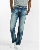 Express straight leg slim fit distressed jean