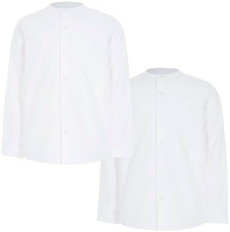 River Island Boys white grandad collar twill shirts 2 pack