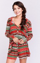 MUMU Hibernate Henley ~ Gingerbread Thermal Stripe