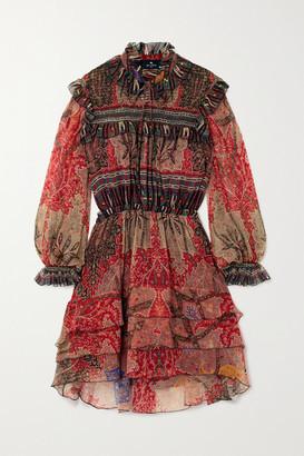 Etro Ruffled Printed Silk-crepon Mini Dress - Red