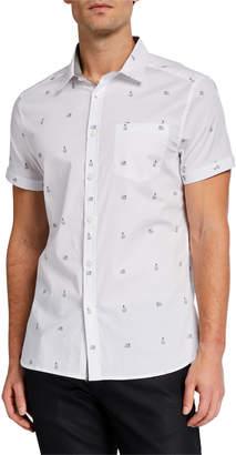 Kenneth Cole New York Men's Polar Bear Print Short-Sleeve Sport Shirt