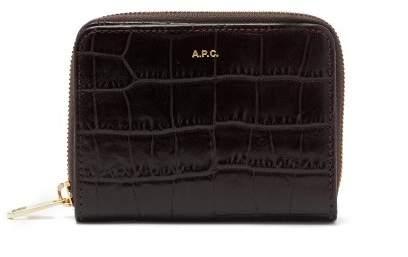 A.P.C. Emmanuelle Croc Effect Leather Zip Wallet - Womens - Burgundy