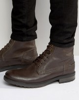 Asos Work Boots In Brown Leather