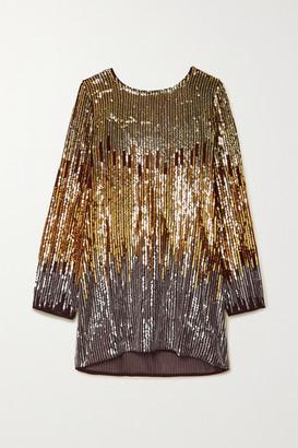 Rixo Aria Ombre Sequined Crepe Mini Dress - Gold