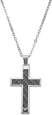 Emporio Armani Men's Cross Necklace, Black/Silver