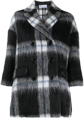 RED Valentino Checked Double-Breasted Coat