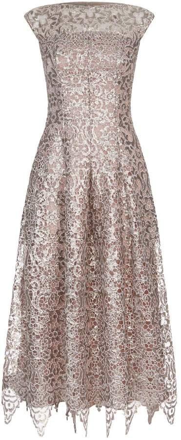 Talbot Runhof Sequin Lace Midi Dress