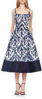 Theia Ikat Print Fit-and-Flare Midi Dress