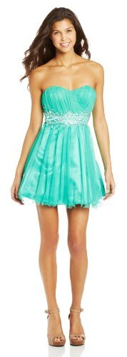 My Michelle Sequin Hearts by Juniors Strapless Dress with Jewel Waist