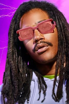 boohoo Mens Pink MAN x Roberi & Fraud Square Frame Sunglasses, Pink