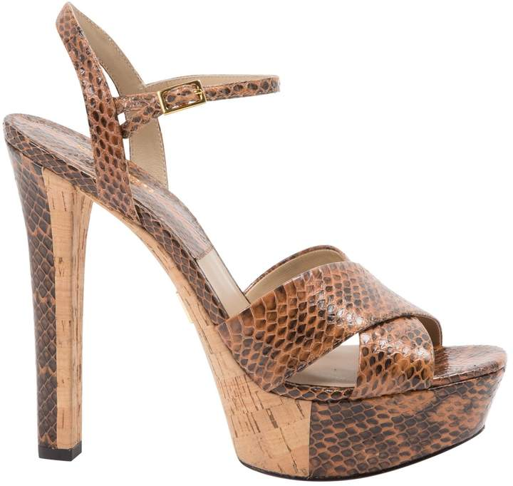 Michael Kors Brown Python Sandals